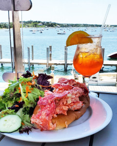 lobster roll and aperol spritz